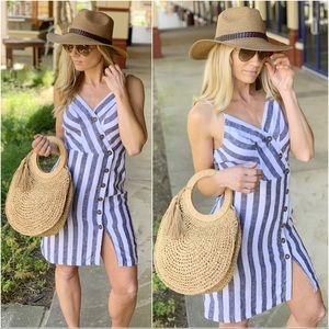Black and ivory striped button front linen dress